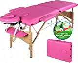 Comfort Adjustable Portable Facial Pink Massage Table 84 Inches Long – 2 Fold Hardwood Frame with Carry Case – SPA Beauty Tattoo Salon PU Leather Bed – Plus Gift eBook – by Global Group