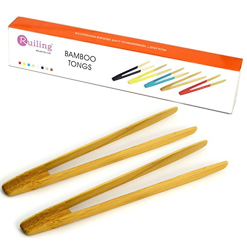 RuiLing Long Grip 2-Pack 9.5-Inch Natural Bamboo Kitchen Tongs Toast Tongs.