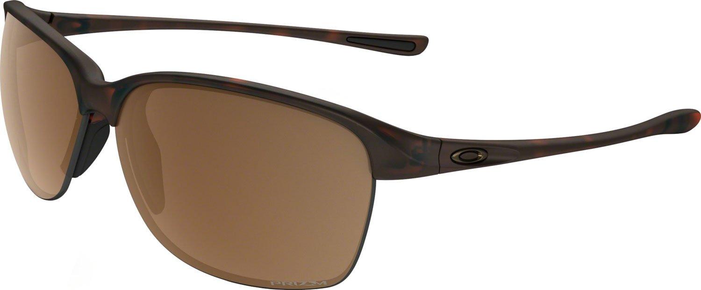 Oakley Women's Unstoppable Polarized Iridium Rectangular Sunglasses, Matte Brown Tortoise, 65 mm