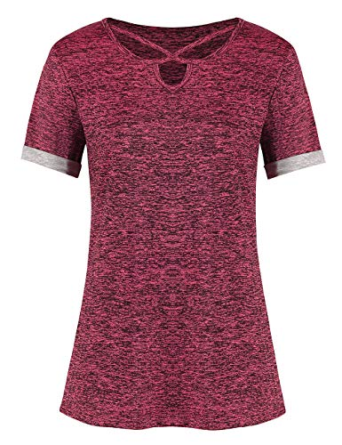 Yoga Tops for Women Loose Fit Short Sleeve Stylish Workout Shirts (Pink,S)