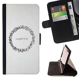 For Samsung Galaxy J3(2016) J320F J320P J320M J320Y Case , Corona de Navidad gris Feliz- la tarjeta de Crédito Slots PU Funda de cuero Monedero caso cubierta de piel