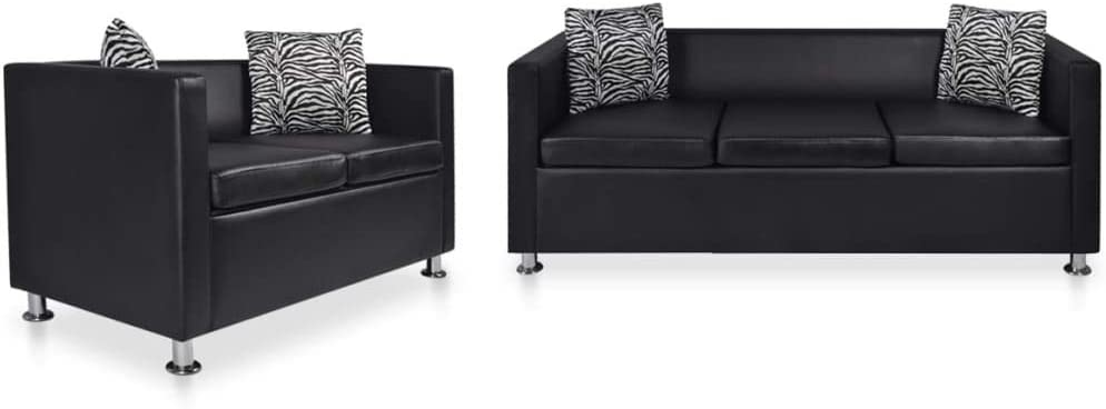 vidaXL Sofa Set 2-Seater and 3-Seater Couch Set Chaise Lounge Sofa Seats Living Room Seating Anteroom Reception Room Furniture Black Faux Leather