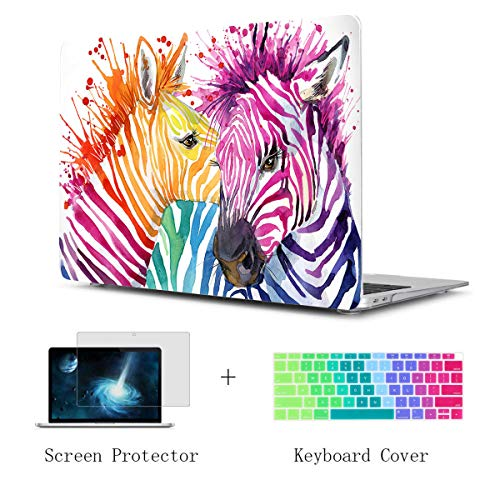 (TwoL Watercolor Zebra Hard Plastic Case Cover Keyboard Skin and Screen Protector for MacBook Air 13-13.3 inch A1466/A1369)