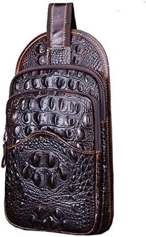 Hebetag Crocodile Genuine Leather Sling Crossbody Bag For Men Travel Outdoor Hun
