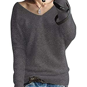 Liny Xin Women's Cashmere Oversized Loose Sexy Big V-Neck Batwing Sleeve Warm Pullover Knitted Wool Sweater Tops