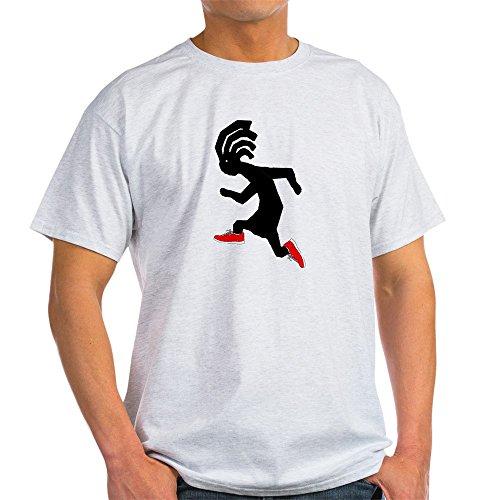 CafePress Kokopelli Runner Light T-Shirt 100% Cotton T-Shirt Ash Grey