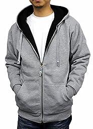 Pro Club Mens Full Zip Reversible Hoodie, Heather Grey Fleece/Black Thermal, Medium