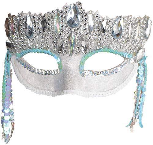 (Ladies Crystal Sparkle Ice Blue White Silver Masquerade Ball Mardi Gras Carnival Fancy Dress Eye Mask)