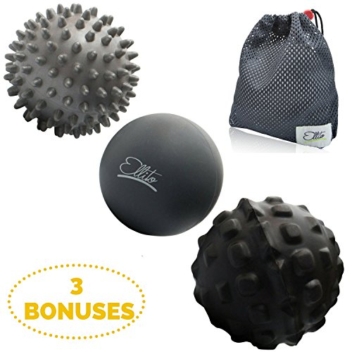 Therapeutic Massage Ball Set  Eliminate Pain  Rubber  Spikes   Foam Roller Massager Balls  Myofascial Release  Trigger Point   Plantar Fasciitis Therapy  Releases Muscle Aches  Thigh  Back  Knee  Etc