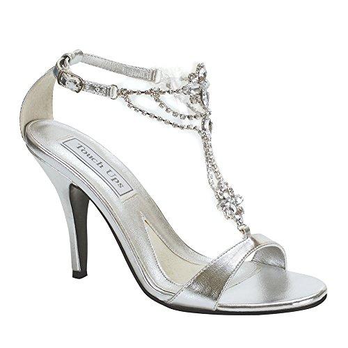 3' Heel Rhinestones (Touch Ups Women's Princess Sandal,Silver,8 M US)