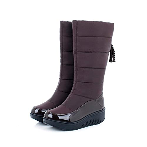 4ed1bbcc6fe Image Unavailable. Image not available for. Color  T-JULY Fashion Women  Boots Keep Warm Comfortable Winter Snow Down Waterproof Ladies Mid Calf