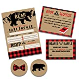 Lumberjack Rustic Baby Shower Invitation Set, Diaper Raffle, Book Request and Stickers
