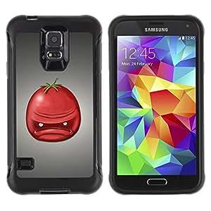 "Pulsar iFace Series Tpu silicona Carcasa Funda Case para Samsung Galaxy S5 V , Angry Retrato Tomate Rojo Fruta Arte Cara"""