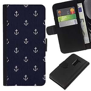 A-type (Boys Wallpaper Anchor Boat Ship) Colorida Impresión Funda Cuero Monedero Caja Bolsa Cubierta Caja Piel Card Slots Para LG G2 D800