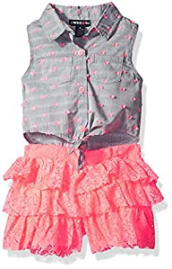 Limited Too Girls' Swiss Dot Sleeveless Blouse and Chambray Ruffle Skort Romper