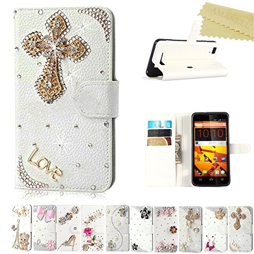 ZTE ZTE Max Cases, AMASELL Glitter Bling Handmade Diamonds [Stand View] PU Leather Flip Cover with Card Slots Holder Folio Wallet Cases for ZTE N9520 / ZTE Boost Max(2014), Cross Love (Phone Cases For A Boost Max Zte)