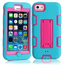 5C Case, iPhone 5C Case Cover,Lantier Full Body Hybrid Impact Shockproof Defender Case Cover With Kickstand for Apple iPhone 5C Blue-Hot Pink
