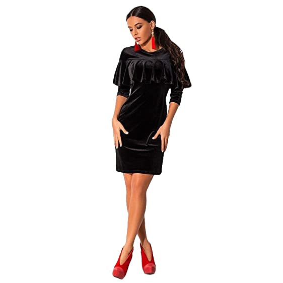 Velvet Bodycon Dress Sexy Women Evening Party Dresses Short Sleeve Autumn Mini Dress (Small,
