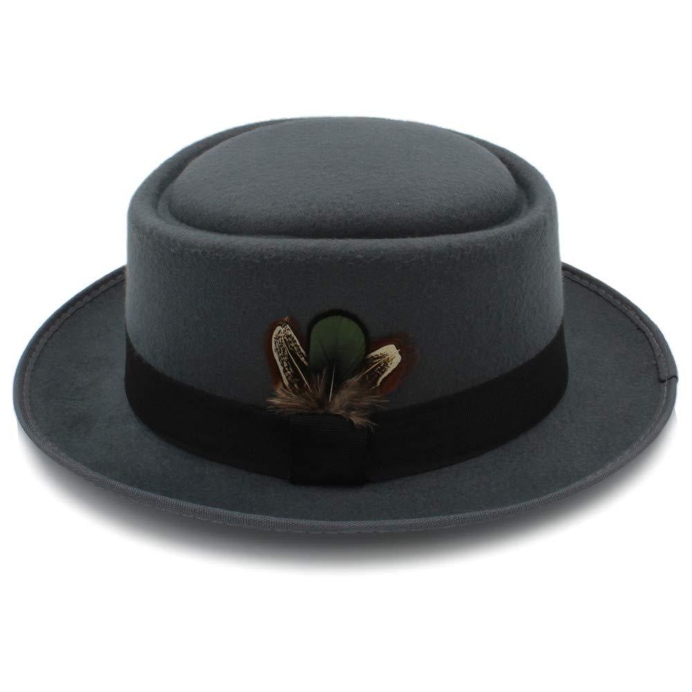 9022d88c7e4 Weejb Classic Fedoras Woolen Felt Black Pork Pie Hat Porkpie Jazz Fedora Hat  Round Top Trilby Stingy Brim Feather Cap Hats (Color   Black
