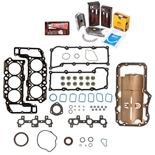 Kit Sohc Full Gasket (Evergreen Engine Rering Kit FSBRR8-30300\2\0\0 02-05 Dodge Jeep 3.7 SOHC VIN K Full Gasket Set, Standard Size Main Rod Bearings, 0.50mm / 0.020