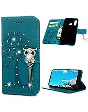 Huawei P30 Lite Case 3D Bling Crystal Diamonds PU Lederen Portemonnee Flip Case Magnetische Bumper Cover Glitter Sparkly Bloemen Vlinder met Kaartsleuven Stand Beschermhoes voor Huawei P30 Lite - Blauw