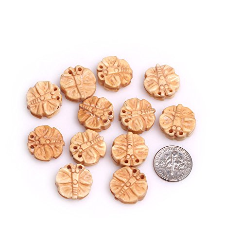 GEM-inside Natural 17mm Yellow Animal Butterfly Carved Bone Cabochon Beads for Jewelry Making Bulk 12 pcs Carved Butterfly Beads