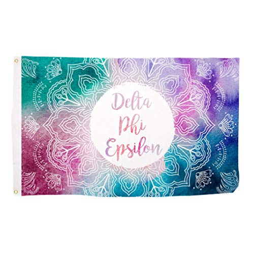 Desert Cactus Delta Phi Epsilon Mandala Water Color Sorority Flag Greek Letter Use as a Banner Large 3 x 5 Feet Sign ()