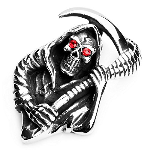 Men's Stainless Steel Pendant Necklace CZ Silver Red Death grim Reaper Skull Scythe Vintage -with 23 inch Chain