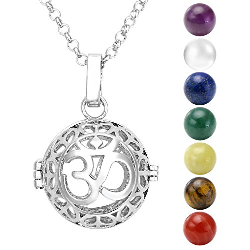 Jovivi Hollow Yoga OM Locket Pendant with Natural 7 Chakras 16mm Ball Stones Reiki Healing Energy Beads 28