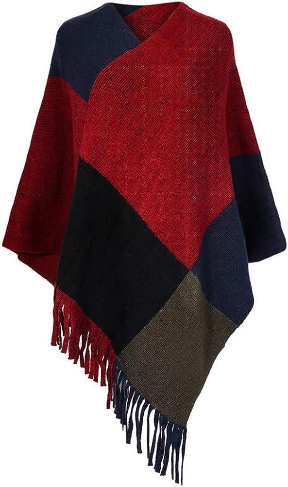 CHIDY Womens Winter Long Tassel Wool Blend Soft Warm Scarf Wrap Shawl Plaid Oversized Scarves