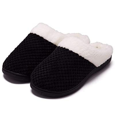 Women's Cozy Memory Foam Slippers Fuzzy Wool-Like Plush Fleece Lined House Shoes w/Indoor, Outdoor Anti-Skid Rubber Sole: Clothing