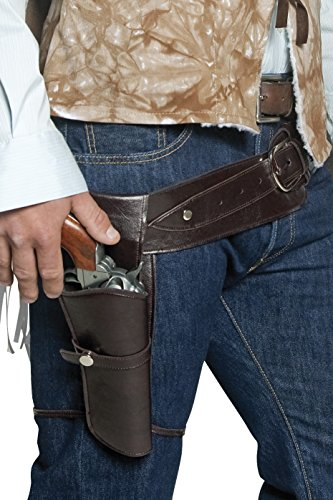 Western Costumes - Smiffy's Adult Unisex Western Belt and Holster, Brown, One size, 33097