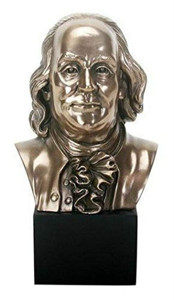 Ky & Co YK Summit Benjamin Franklin Bust Bronze Figurine 8.75'' Height Founding Father USA by Ky & Co