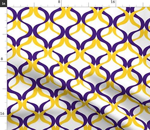 - Spoonflower Louisiana Fabric - Louisiana State Univers LSU Tigers Wave Purple Yellow Print on Fabric by The Yard - Chiffon for Sewing Fashion Apparel Dresses Home Decor