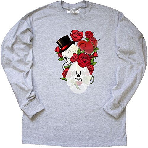 Inktastic - Goth Skull Roses Long Sleeve T-Shirt X-Large Ash (Rose Ash Grey T-shirt)