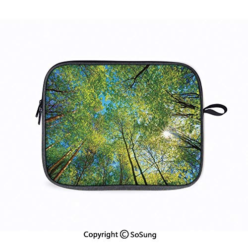14inch Laptop Sleeve Bags,Evergreen Back Nature Area Mother Earth Lime Trunk Mangrove Flora Willow Decor Laptop Briefcase Compatible with ACER 14 CB3-431/Lenovo ThinkPad T480 (Impulse Top Pac Laptop Brief)