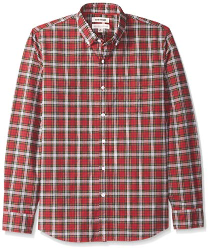 - Goodthreads Men's Standard-Fit Small Tartan Oxford Shirt, red/Green, XX-Large