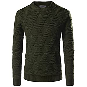 NEARKIN Mens Ribbed Wool Blend Pullover Shawl Collar Knitted Sweaters