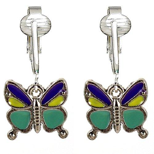 (Butterfly Clip Earrings, Dragonfly Clip On Earrings, Butterfly Clip On Earrings for Women (Teal Butterflies))
