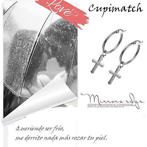 Pendientes Cruz Pendientes Aro de Oreja Colgante Acero Inoxidable Plata Hombre Mujer Di/ámetro del anillo 25mm