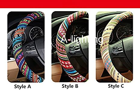 A-Lighting Ethnic Style Coarse Flax Cloth Automotive Steering Wheel Cover Anti Slip and Sweat Absorption Auto Car Wrap Cover B