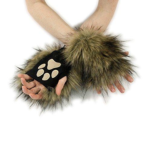 Pawstar Wolf Fur Pawlets Furry Paw Fingerless Gloves - Brown -