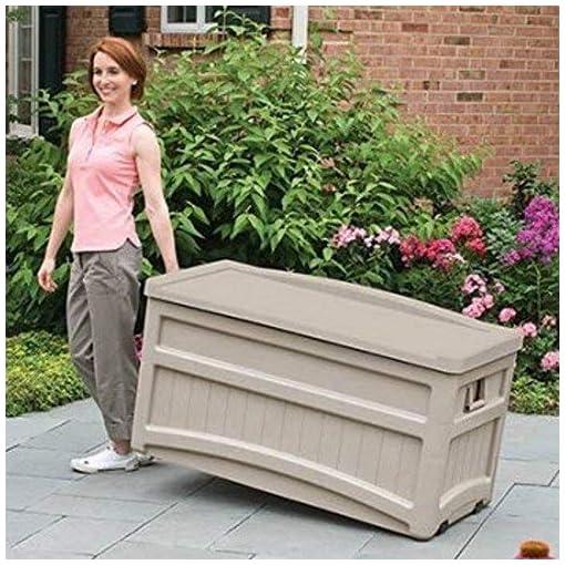 Deck Boxes Suncast 73 Gallon Indoor/Outdoor Medium Deck Storage Box, Light Taupe outdoor deck boxes
