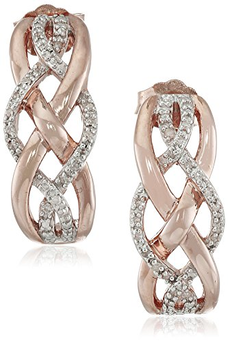 Diamond Crossover Gold - Jewelili 14K Rose Gold over Sterling Silver Diamond Crossover Hoop Earrings (1/10 cttw)