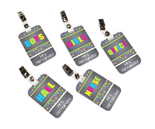 set-of-teachers-hall-passes-funny-colorful-small-dots-white-letters
