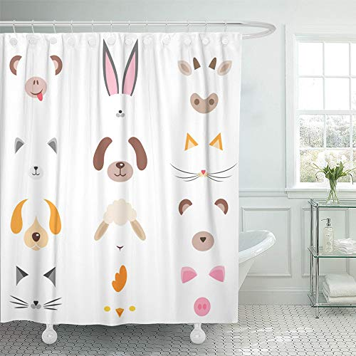 Emvency Shower Curtain Set Waterproof Adjustable Polyester Fabric Cow of Cute Cartoon Animal Masks Head Nose Sheep Avatars Baby Cat Character 72 x 72 Inches Set with Hooks for Bathroom -