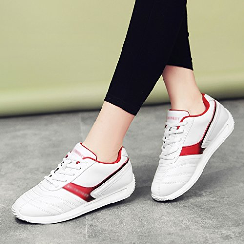 femme Sport Couleur Course Femmes Étudiant Chaussures de taille HWF Plat Printemps Chaussures White Chaussures dark Blanc 40 Plate blue Red White Chaussures Casual E5zYnZxw