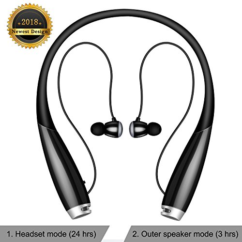 Bluetooth Headset, NeFima Noise Cancelling HD Stereo Wireless Neckband in-Ear Earbuds with Mic Sweatproof Headphones Bluetooth Earphones & Speaker 2 in 1-Black