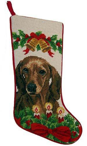 (Red Smooth Coat Dachshund Dog Needlepoint Christmas Stocking)