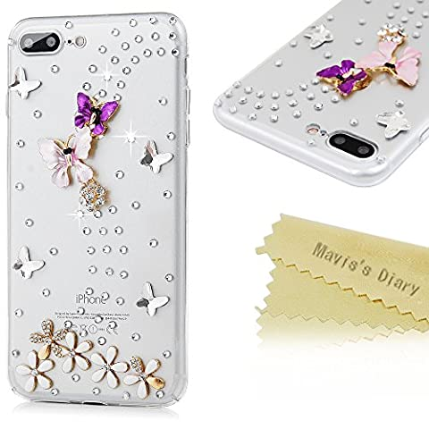 iPhone 7 Plus Case (5.5 inch) - Mavis's Diary 3D Handmade Bling Diamonds Colorful Butterfly with Flowers Lovely Glitter Rhinestone Gems Sparkle Crystal Full Around Protective Clear Hard PC - Juicy Full Diamond